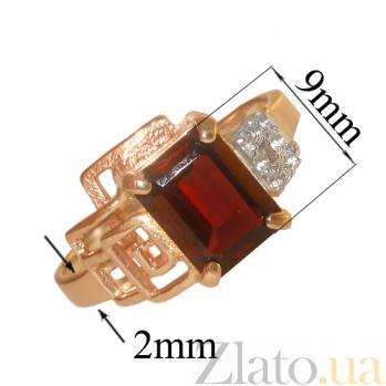 Золотое кольцо с гранатом и фианитами Клаудия PTL--1к474/33