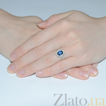 Серебряное кольцо Таисия с синим цирконием Таисия к/син