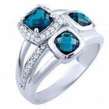 Серебряное кольцо Леокадия с синтезированным топазом лондон и фианитами