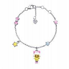 Серебряный браслет Пинки с подвесками девочкой, звездочкой и эмалью,15х10 мм