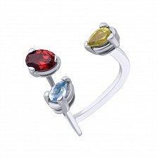Серебряное кольцо с гранатом, топазом и хризолитом Спектр