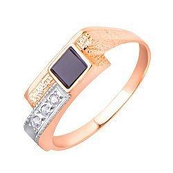 Перстень-печатка в красном и белом золоте Лондон с черным ониксом и фианитами