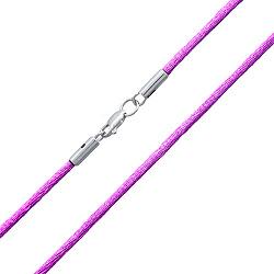 Фиолетовый шелковый шнурок Матиас с родированной серебряной застежкой