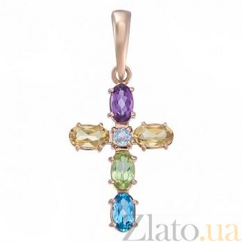 Золотой крестик Северное сияние VLT--П3367-7856