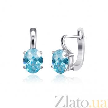 Серебряные серьги Эдвена с фианитами цвета голубого топаза 000024593