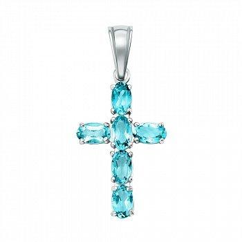 Серебряный декоративный крестик с кварцем под топазы swiss 000141131