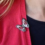 Серебряная брошка Бабочка с нанокристаллами и эмалью