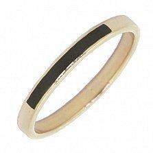 Золотое кольцо Джина с черной эмалью