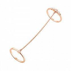 Золотое двойное кольцо Ингрид в красном цвете с цепочкой и фианитами