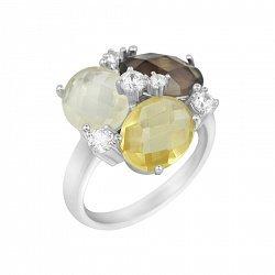 Серебряное кольцо Пруденс с раухтопазом, цитрином, кварцем и фианитами