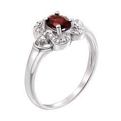 Серебряное кольцо с гранатом и фианитами 000008142