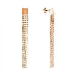 Золотые серьги-подвески в красном цвете Ручеек с квадратом у основания и пятью цепочками