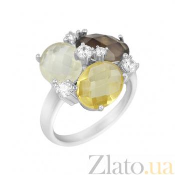 Серебряное кольцо Пруденс с раухтопазом, цитрином, кварцем и фианитами 000081523