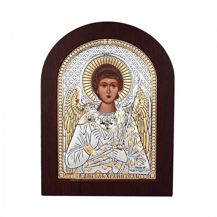 Икона Ангел Хранитель с серебром и позолотой в деревянной рамке 000140105 000140105