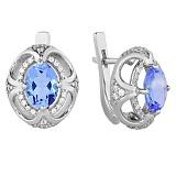 Серебряные серьги Восточная сказка с голубым кварцем и цирконием