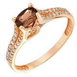 Золотое кольцо Хармони с раухтопазом и фианитами