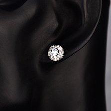 Серебряные серьги-пуссеты Диана с белым цирконием
