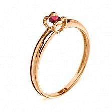 Кольцо из красного золота с рубином Сердце
