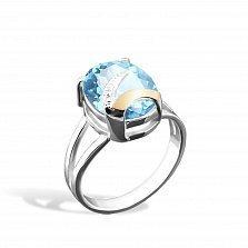 Серебряное кольцо Дафна с золотой вставкой и аквамарином