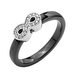 Кольцо из черной керамики и серебра с фианитами 000131773