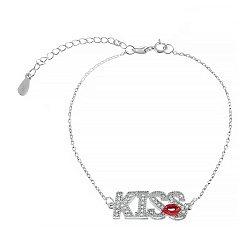 Серебряный браслет с цирконием и эмалью Kiss 000027971