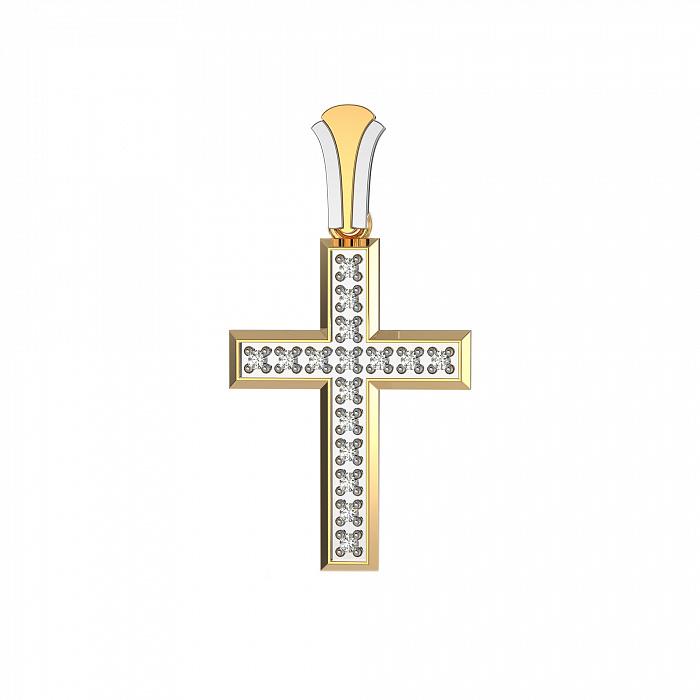 Золотой крестик Софья в комбинированном цвете с бриллиантами VLA--33030