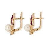 Золотые серьги с бриллиантами, жемчугом и рубинами Заряница