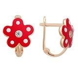 Серьги в красном золоте Маленькая модница с эмалью и фианитами