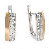 Серебряные серьги с золотыми вставками и цирконием Инесса