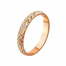Золотое обручальное кольцо с фианитом  New look