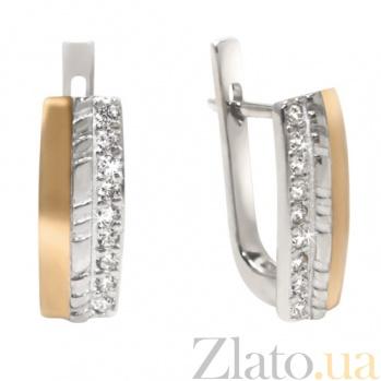 Серебряные серьги с золотыми вставками и цирконием Инесса BGS--337с