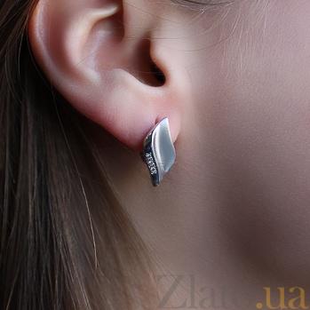 Серебряные серьги с бриллиантами Нежность 79200299
