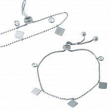Серебряный браслет Фигаро с геометрическими фигурами и завальцованными фианитами