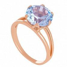 Золотое кольцо с голубым топазом Дамира