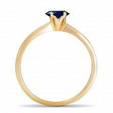 Золотое кольцо Ясмин с сердцем в четырех крапанах и сапфиром