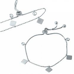 Серебряный браслет Фигаро с геометрическими фигурами и завальцованными фианитами 000076285