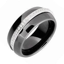 Каблучка зі срібла і чорної кераміки з фіанітами 000025487