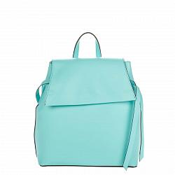 Кожаный рюкзак Genuine Leather 8945 бирюзового цвета с клапаном на магнитной кнопке