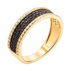 Золотое кольцо Эльмина в желтом цвете с черными и белыми фианитами