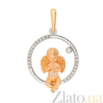 Золотой кулон Ангел с флейтой в желтом и белом цвете с фианитами VLT--Т3513