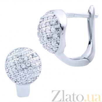 Серебряные родированные серьги Бархатный шарик с дорожками белых фианитов 000077874