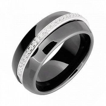 Кольцо из серебра и черной керамики с фианитами 000025487