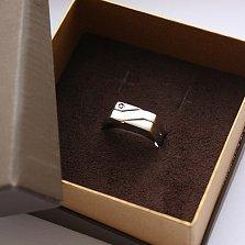 Серебряный перстень Рикард с чёрным фианитом