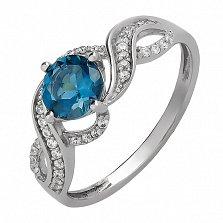 Серебряное кольцо Жоржетта с топазом лондон и цирконием
