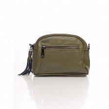 Кожаный клатч Genuine Leather 1828 приглушенно-зеленого цвета с передним карманом и молнией