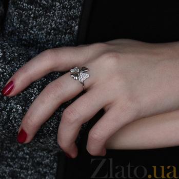 Серебряное кольцо с фианитами Клевер AUR--71851б