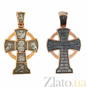 Золотой крестик с черным и белым родированием Силы Небесные VLT--КС1-3050-1
