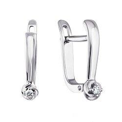 Серебряные серьги с бриллиантами 000131659