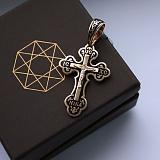 Серебряный крест позолоченный с чёрной эмалью Светлые небеса