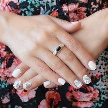 Серебряное кольцо с золотыми вставками и авантюрином Шарманка